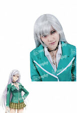 Anime New Rosario Vampire Moka Akashiya Halloween Long Cosplay Silver Women Wig