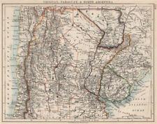 Uruguay Paraguay Argentina. River Plate Estados del norte Chile. Johnston 1903 Mapa