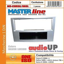 MASCHERINA AUTORADIO 1 DIN OPEL CORSA D DAL 2006 IN POI ADATTATORE SILVER LUCIDO