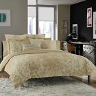 Kenneth Cole Reaction Home Radiant Full Queen Duvet Cover, Gold 100% Cotton NIB