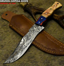 Brussel Hand Forged Damascus Steel Olive Wood Art Full Tang Hunting Knife