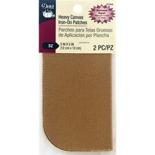 "Dritz Iron-On Heavy Canvas Patches 5""X5"" 2/Pkg-Golden Light Brown"