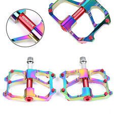 2x Pedals MTB Road Bike 3 Bearings Ultralight Bicycle Pedal Rainbow Set Aluminum