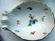 Rare Meissen Oyster Shot Shell Shaped Dish Bowl Fruits Flowers Basket Weave