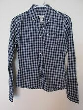 New Women's Abercrombie & Fitch Button-Down Shirt Blue & White Plaid Size Small