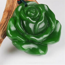Natural Green jade Rose jade pendant Necklace Amulet Fine jewelry Collection