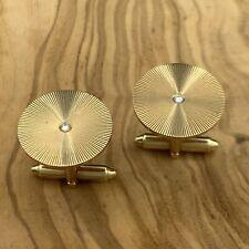 Vintage Estate 14k Yellow Gold Diamond Round Sunburst Cufflinks 12.6 grams