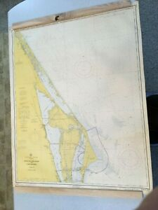 Vintage 1971 Florida Ponce De Leon Inlet to Cape Kennedy Nautical Maritime Map