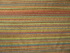 Drapery Upholstery Fabric Woven Chenille Railroaded Stripe - Turquoise / Gold