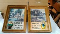 VTG SET WORLD'S GREATEST GRANDMA & GRANDPA WOOD FRAMED WALL PLAQUES/HANGINGS