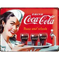 Blechschild groß Coca Cola Waitress,Nostalgie Schild 40 cm ! ! !,NEU