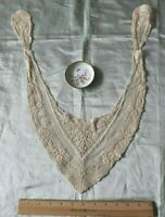 "Antique Vintage Embroidered Net Floral Lace Dress Front c1918~Bridal~21""X 10"""