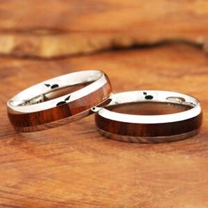 6mm Koa Wood Ring Stainless Steel Wedding Ring Oval SLR6106