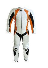 COMBINAISON MOTO EN CUIR XS S M L XL NEUF 1 partie 48 50 52 54 56 Blanc Orange