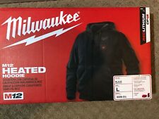 New Milwaukee M12 Cordless Hooded Heated Jacket Kit (L) - Black FAST SHIPPING