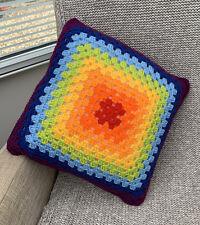 "Rainbow Handmade Crochet Cushion Pillow 16"" Square includes Insert Vintage Style"