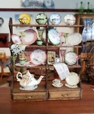 DOLLHOUSE MINIATURE ARTISAN WALL SHELVES HAND PAINTED PLATES TEA DISPLAY