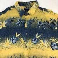 Puritan Button Up Shirt Mens 2XL XXL Yellow Blue Floral Hawaiian Aloha Pocket