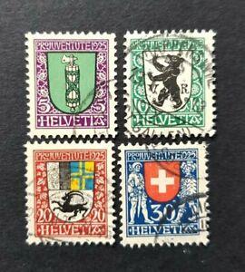 Switzerland 1925 Pro Juventute Charity SGJ 32, 33, 34, 35 Used