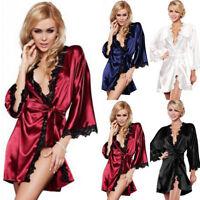 Women Sexy Nightdress Satin Lace Kimono Sleepwear Lingerie Dress Gown Robe Kits