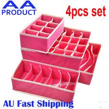 4pc Drawer Closet Organizer Storage Box Container for Underwear Bra Socks Pink