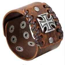 Wide Genuine Brown Leather Bangle Belt Bracelet Cuff Wristband Cross