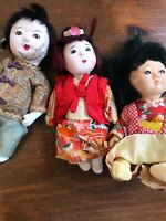 Set of three composition Chinese dolls VINTAGE boy and two girls