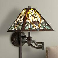 Tiffany Style Swing Arm Wall Lamp Bronze Plug-In Multi Colored Art Glass Bedroom