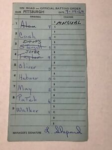 Pittsburgh Pirates Baseball 69 Game Used Lineup Card Al Oliver Willie Stargell 4