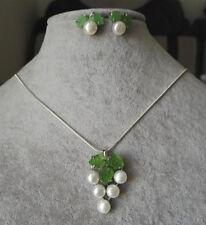 schöne große weiße perle & baby grüner jade blume anhänger & ohrringe setz