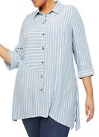 Catherines ladies blouse shirt plus size 24/26 blue white stripe button up