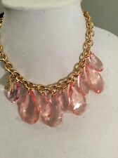 """Brighton """"My Flat In London"""" Pink Lucite Goldtone Chandelier Necklace $82 #245(2"""