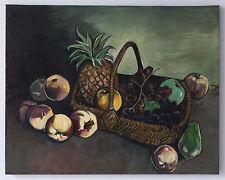 """Quadro dipinto grande olio su tela """"Natura morta"""" anonimo XX sec. 64x80,5 cm."""