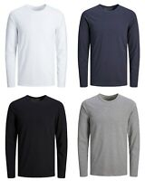 Jack & Jones New Mens Long Sleeve Plain Stretch T-Shirt Black Navy White Grey