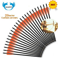 """12x Hunting Archery 20'' Carbon Shaft Arrows Bolts 4""""vanes For Crossbow Shooting"""