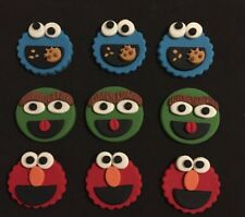 12 Sesame Street OSCAR elmo COOKIE MONSTER cupcake topper EDIBLE CAKE DECORATION
