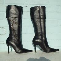 River Island Black Leather Boots Size Uk 5 Eur 38 Women Ladies Zips Pirate Boots
