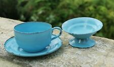 ANTIQUE GERMAN? BLUE ENAMELWARE METAL CUP & PLATE WITH BOWL CHILD's TOY DOLL