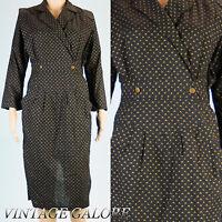 Vtg 80s Black Novelty Print Pencil wiggle Secretary long sleeve dress Sz  S