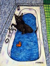 Bombay Cat Taking A Bath cat art print prints 13x19 glossy gift gifts