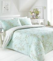 Duck Egg Green And Pink Yasmina Floral Reversible Double Duvet Cover Set