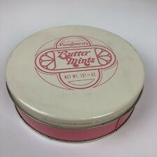 Vintage Pangburns Butter Mints Cookie Candy Tin Container & Lid Pink Stash Box