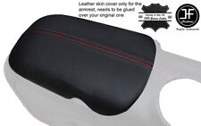 RED  STITCH ARMREST LID GENUINE LEATHER COVER FITS FORD MUSTANG 2015-2017