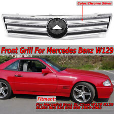 For 1990-02 Mercedes R129 SL320 SL500 2 Fin Front Hood Sport Silver Grill Grille