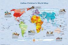 24x36 Children's Map of the World Map Educational Wall Decor Shrink Wrapped