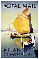 Royal Mail boats uk Vintage Illustrated Travel Poster Print Framed Canvas