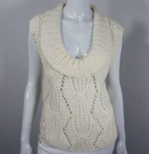 Bebe Short Sleeve Cowl Neck Cabled Sweater Size M Medium White 131