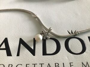 Pandora Silver & Crystal Bow with Ivory Pearl Pendant/Charm, SUPERB CONDITION