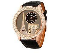 Reloj Analógico Mujer Negro Dorado Torre Eiffel Woman Analogic Watch A1862