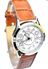 MASONIC GIFT GENTS WATCH WITH SUPERB DETAILS OF THE MASONIC SYMBOLS BROWN STRAP